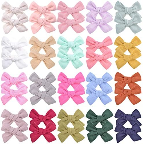 40PCS 3 Inches Baby Girls Hair Bows Clips Small Linen Hair Barrettes Accessories for Babies product image
