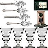 Juego de Accesorios Absenta | Completo con 4X Vasos (hecho a mano) | 4X Cuchara | 1X Azúcar | Alta Calidad