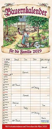 Bauernkalender Familienplaner 238819 2019: Familienplaner - 4 große Spalten mit viel Platz. Hochwertiger Familienkalender mit netten Bildern, Ferienterminen und Vorschau bis März 2020. 19 x 47 cm.