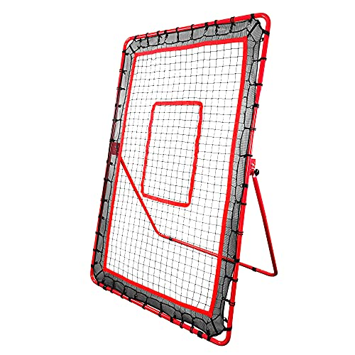 Hit Run Steal Pitchback for Baseball or Softball. Adjustable Rebounder Net for Throwing and Pitching Practice