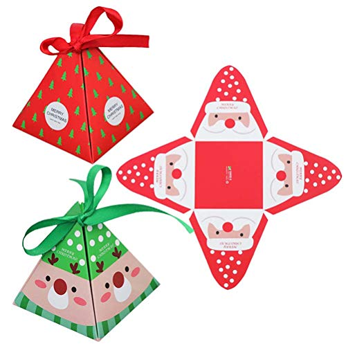 Toyvain 12 Stücke Weihnachten Papierschachteln Treats Candy Chocolate Goodies Boxen für Weihnachtsfeierbedarf (Weihnachtsmann, Elch, Weihnachtsbaum)