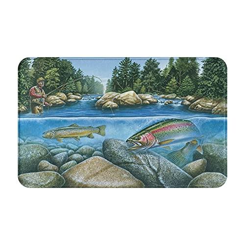 Alfombras de baño antideslizantes,pesca de peces,aparejos de pesca con mosca,corriente de pesca,río,vida silvestre,naturaleza F,alfombrilla de baño de felpa lavable extra suave,alfombras de baño