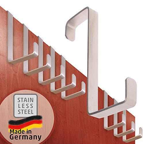 Perchero puerta – acero inoxidable, juego de 10 – colgador puerta Made in Germany – percha puerta Porta XXL, especialmente fuerte