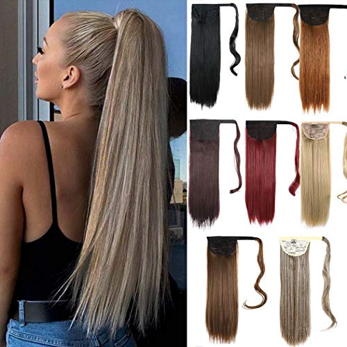 Cagora Ponytail Extension Straight Cilp in Long Hair Extensions Wrap Around Hair Piece Claw Synthetic Pony Tails Magic Paste Hair Wraps Drawstring Ponytail Hairpiece for Women and Girls(Wine Red)