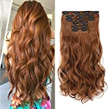 Rosa Star 1-Pack 6pcs 24inch Synthetic Hair Pieces Wavy Curly Full Head Clip In On Hair Extensions Women Lady Hairpiece (Yellow Brown 30#)