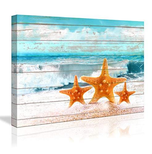 Ocean Home Decor Bathroom Wall Decor Board Beach Sea Starfish Wall Art Bathroom Decor Prints Canvas Wall Art Small Framed Artwork for Walls Modern Paintings on Canvas Prints (Starfish, 16x24inch)