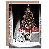 Wee Blue Coo Card Christmas Xmas