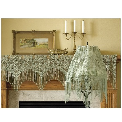 Heritage Lace Gala 60-Inch Wide by 22-Inch Drop Lampshade Topper, Silver Sage