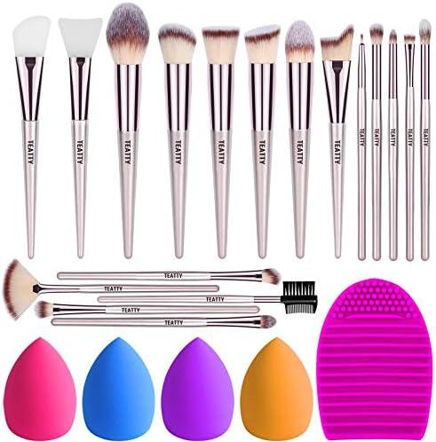 TEATTY Makeup Brushes 18 PCs Makeup Brush Set 2 PCS Silicone Face Mask Brush 4 Blender Sponge product image