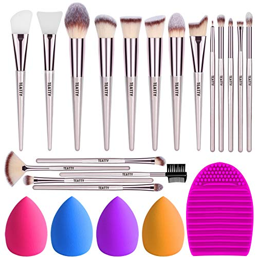 TEATTY Makeup Brushes 18 PCs Makeup Brush Set 2 PCS Silicone Face Mask Brushamp4 Blender Spongeamp1 Brush Cleaner Premium Synthetic Foundation Powder Concealers Eye Shadows Makeup Brushes Kit
