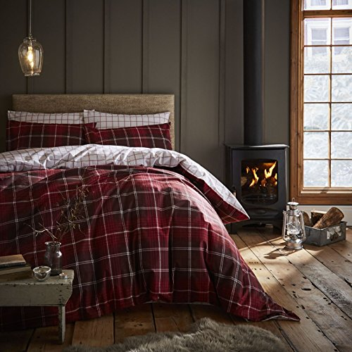 Catherine Lansfield Brushed Cotton Tartan Check King Duvet Set Red