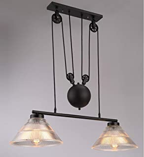 Vintage Pulley Chandeliers, Industrial Retractable Pendant lights Antique Pulley Rise and Fall Light Fitting for Kitchen Island Dining Room Loft Hallway with Glass Shade (Size : 2-Lights)