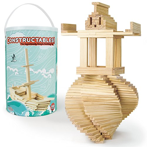 Imagination Generation Constructables! Pine Wood Building Planks, 150 Pieces - Educational Tinker Toys for Kids & Teens - STEM Stacking Blocks for Boys & Girls - Wooden Playset for Learning