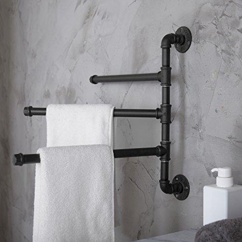 MyGift Wall-Mounted Industrial Pipe Design 3-Arm Swivel Towel Bar Rack, Black