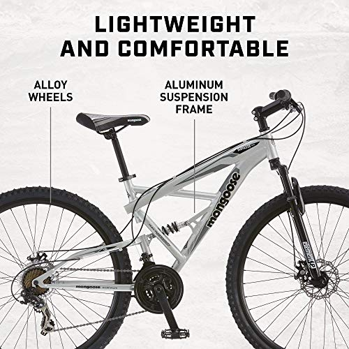 Product Image 1: Mongoose Impasse Mens Mountain Bike, 18-Inch Frame, 29-Inch Wheels with Disc Brakes, Silver