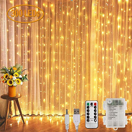 Koopower Curtain Fairy Lights Battery Powered, Fairy String Lights Plug in, 3m x 3m 300LED Warm White Christmas Window Lights 8 Modes Dimmable with Remote and Timer for Indoor Outdoor Bedroom Wedding