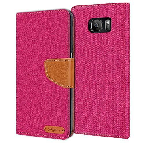 Conie Samsung Galaxy S7 Hülle für Galaxy S7 Tasche, Textil Denim Jeans Erscheinungsbild Booklet Cover Handytasche Klapphülle Etui mit Kartenfächer, Pink
