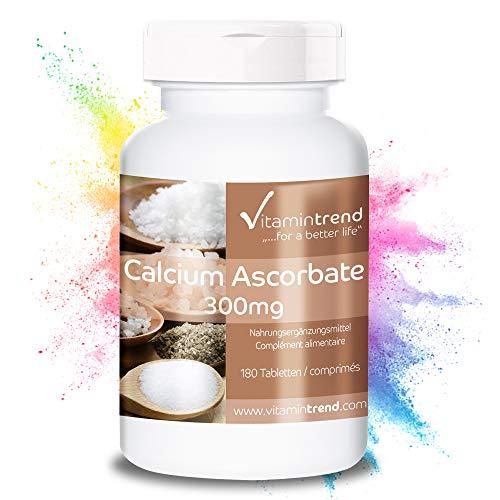Ascorbato de calcio ⚡️ 180 comprimidos para ¡6 MESES! ⚡️ Vitamina C 300mg tamponada – vegano – portección celular y sistema inmune