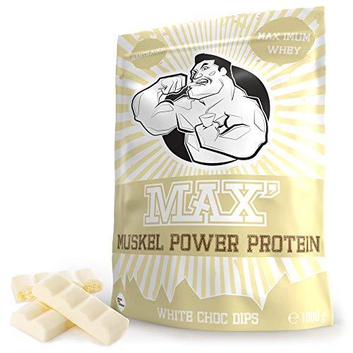 Whey Protein Eiweißpulver Lower Carb | Protein Pulver Muskelaufbau & Abnehmen | Protein Shake Whey | Eiweiß-Shake als Mahlzeitersatz & Sportnahrung | MAX MUSKEL POWER PROTEIN (Weiße Schokolade 1kg)