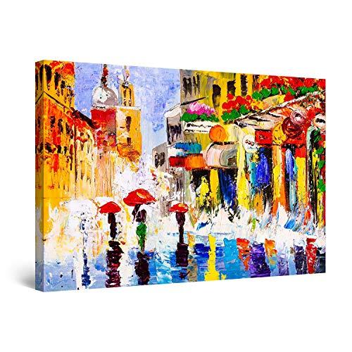 Startonight Cuadro Moderno en Lienzo Hermosa y Colorida Pintura de la Ciudad de Praga - Pintura Paisaje para Salon Decoración Grande 80 x 120 cm