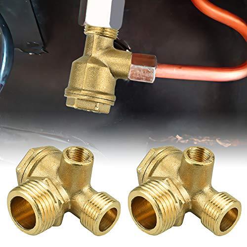 FAVENGO 2 Pcs Válvula de Retención del Compresor de Aire Válvula de Retención de Latón de 3 Vías Rosca Macho 1/2 Pulgada al Depodito Valvula Antiretorno Válvula para Compresor Aire/Mini Compresor