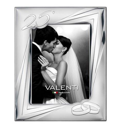 Valenti&Co - Cornice Portafoto in Argento cm 13x18. Ideale Come Regalo per Nozze d'Argento - 25 Anni di Matrimonio o per Il venticinquesimo di parenti o Mamma e papà.