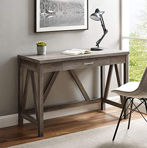 Walker Edison Rustic Farmhouse Wood Computer Writing Desk Home Office Workstation Small, 46 Inch, Grey