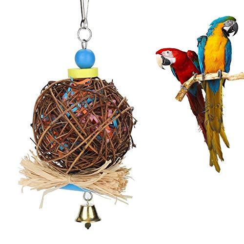 Giocattolo per Pappagalli per Uccelli, Giocattolo da Masticare per Uccelli, Sfera in Rattan Naturale...