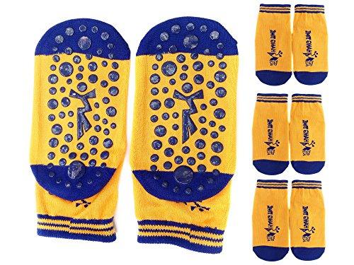 TUKA [4 Pares] Calcetines Antideslizantes para niños niñas 2 a 3 años, Unisex ABS Calcetines con botones Tamaño 23-26. para yoga, Danza, trampolín, Fitness, hogar. Naranja, TKB7001-orange-S-4X