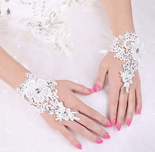 The Bride Marriage Dress Lace Rhinestone Short Glof Wedding Gloves Mitten White