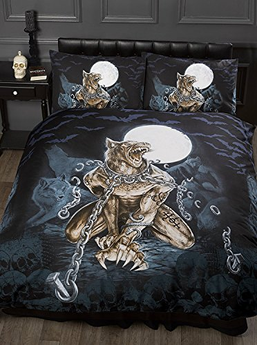 Single Bed Loups Garou, Alchemy Gothic Duvet/Quilt Cover Bedding Set, Werewolf, Full Moon, Wolf, Skulls, Bats, Graveyard, Chains, Black, Blue, Brown, White