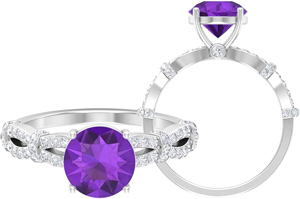 8 MM Amethyst Washington Mall Solitaire Ring Diamond Gold Sp HI-SI Accent Max 76% OFF