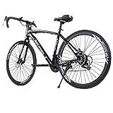 Kiyotoo 700c Road Bike City Commuter Bicycle with 21 Speeds Drivetrain, Mens/Womens Hybrid Road Bike, Disc Brakes, Aluminum Frame Full Suspension Road Bike (Black)