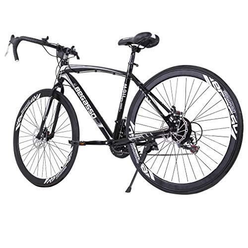 Aluminum Road Bike, 21 Speed Disc Brakes Aluminum Frame Road Bicycles Begasso Shimanos Full Suspension Road Bike, 700c Dual Disk Brake Quick Release Racing Bicycles (Blue/White)