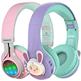 Riwbox WT-7S&RB-7S Kids Headphones Wireless, Bundle 2 Packs Foldable Stereo Bluetooth Headset with Mic and Volume Limited for PC/Laptop/Tablet/iPad (Purple)