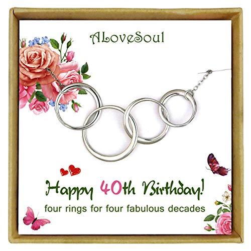 ALoveSoul - Collar de plata de ley con cuatro círculos entrelazados para mujer, joyería de 4 décadas, 40 años de edad, regalos de cumpleaños de 1979