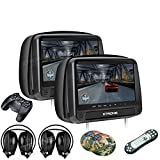 XTRONS 2x9 Inch Pair HD Digital Touch Panel Leather Cover Car Auto Headrest DVD Player Games Built-in HDMI...