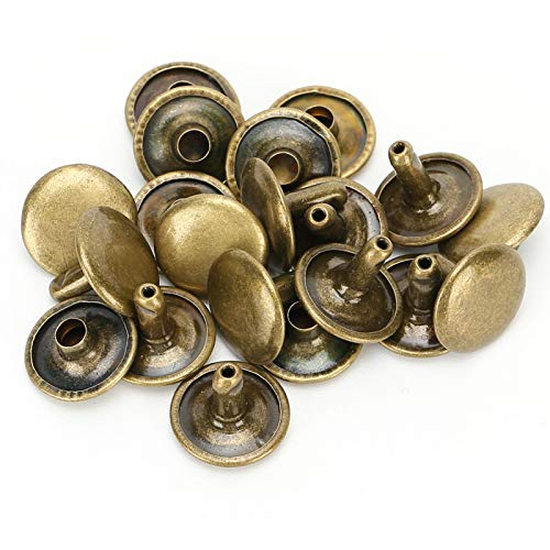 Remache lateral, remache de doble tapa, 200 juegos de remaches artesanales Fácil instalación anticorrosión para bolsos artesanales de cuero Cinturones Ropa(Bronze)