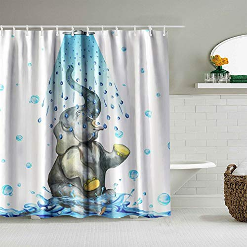 AIKIBELL Personalisierter Duschvorhang,Blauer Elefant,wasserabweisender Badvorhang für das Badezimmer 180 x 180cm