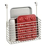 mDesign Metal Over Cabinet Kitchen Storage Organizer Holder or Basket - Hang Over Cabinet Doors in Kitchen/Pantry - Holds Bakeware, Cookbook, Cleaning Supplies - Satin