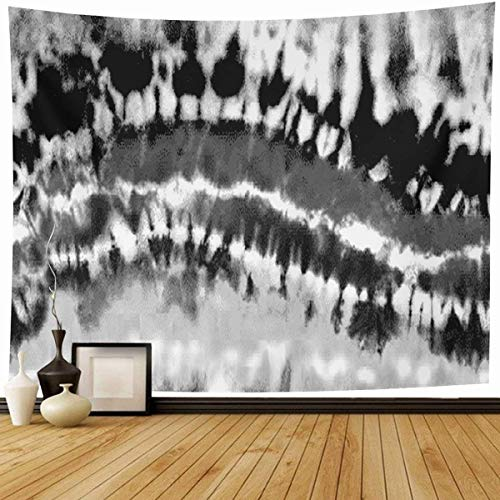 Tapestry Wall Hanging Monotone Black White Bleached Rainbow Tie Dye Abstract Bleach Distressed Gothic Grey Design Ink Home Decor Tapestries Decorative Bedroom Living Room Dorm