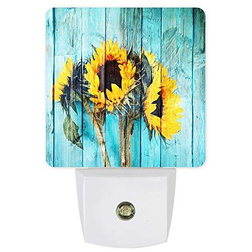 Lámpara de noche con sensor de girasol amarillo con sensor LED de pared, sensor de atardecer a amanecer para dormitorio, lactancia de bebé, pasillo, escaleras, decoración del hogar, color azul antiguo