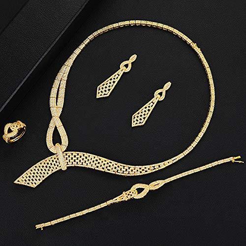 Señoras Boda Nupcial geométrico Completo Diamante circón cúbico Collar Pendientes Pulseras Anillo Conjunto de Joyas