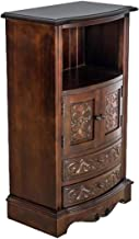 Benjara Engraved Wooden Frame Storage Cabinet with 2 Drawers and 2 Doors, Brown