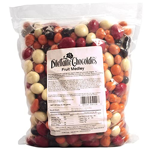 Chocolate Covered Fruit Medley   5lb Resealable Bag   Chocolate Strawberries, Royal Cherries, Apricots, & Blueberries   By Dilettante Chocolates