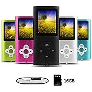 Btopllc MP3-Player,16G tragbare,verlustfreie Sound-Musik-Player,MP4-Player, tragbare und kompakte Medien-und Videoplayer,Unterstützung für Musik,Video,und Ladekabel inklusive-Schwarz