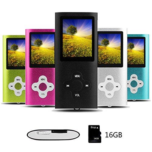 Btopllc Reproductor de MP3 Reproductor de MP4 Reproductor de música Digital Tarjeta de Memoria Interna de 16GB Reproductor de música portátil/Compacto MP3/MP4/Reproductor de Video - Negro