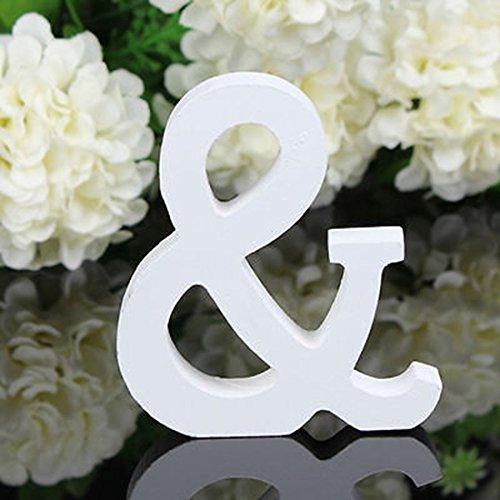Worsendy Buchstaben Holz weiß, Handwerk Holz Holz Briefe Braut Hochzeitsparty Geburtstag Spielzeug Home Dekorationen 8 * 6CM (&)