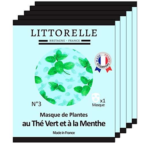 Littorelle -5x Mascarilla Botánica Té verde y Menta - Fabricada en Francia - Desintoxica y tonifica la piel - Limpia y cierra los poros - Matificante - Máscara Pieles mixtas grasas con imperfecciones