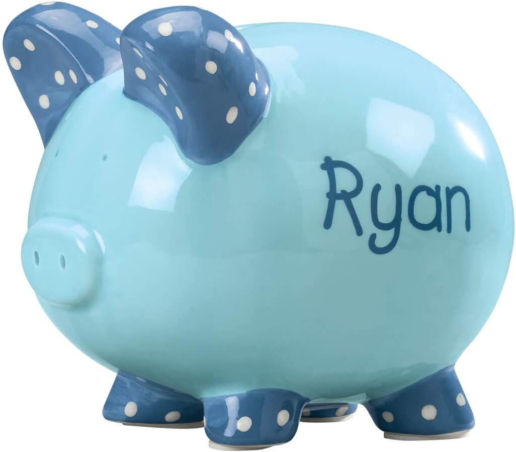 Miles Kimball Personalized Dealing full price reduction Ceramic Kid's Bank Blue Max 68% OFF Piggy - Font